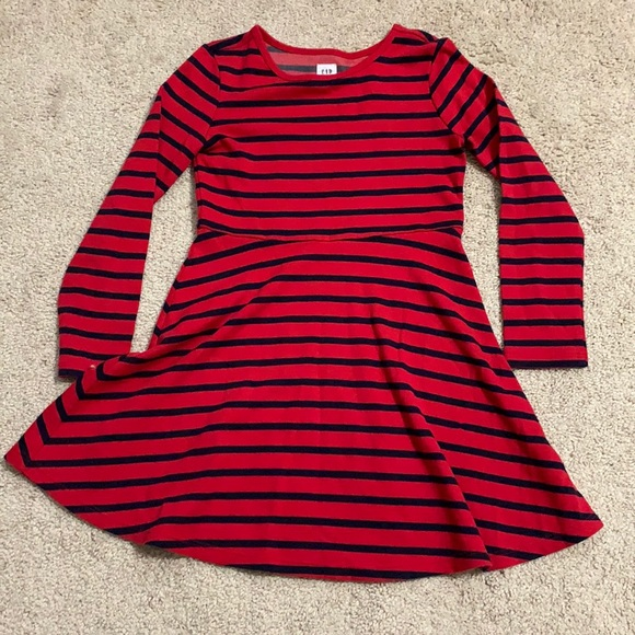 Gap, red and navy striped dress, size S (6-7) kids